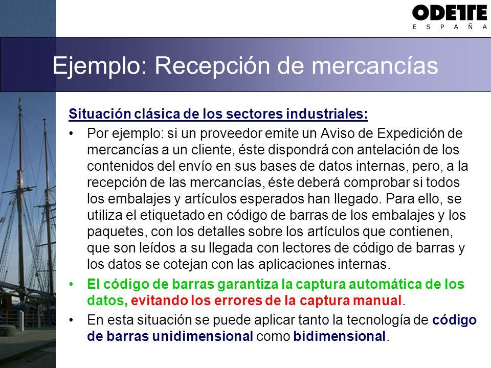 Ejemplo: Recepción de mercancías