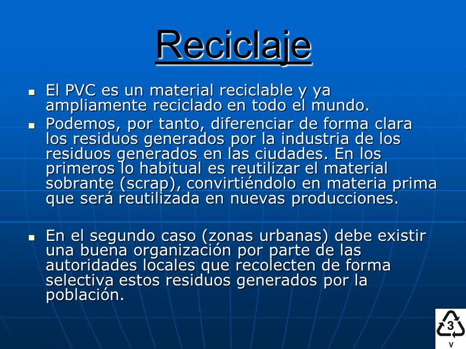 Reciclaje El PVC es un material reciclable y ya ampliamente reciclado en todo el mundo.