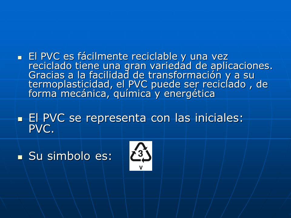 El PVC se representa con las iniciales: PVC.