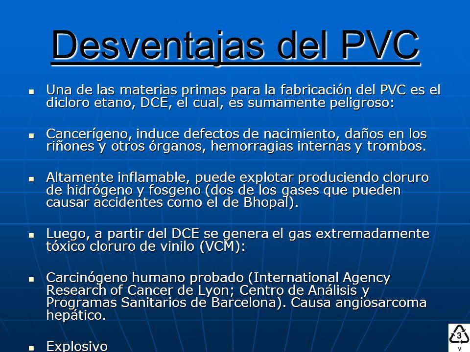 Desventajas del PVC Una de las materias primas para la fabricación del PVC es el dicloro etano, DCE, el cual, es sumamente peligroso: