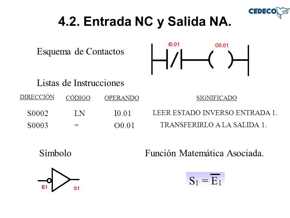 4.2. Entrada NC y Salida NA. S1 = E1 Esquema de Contactos
