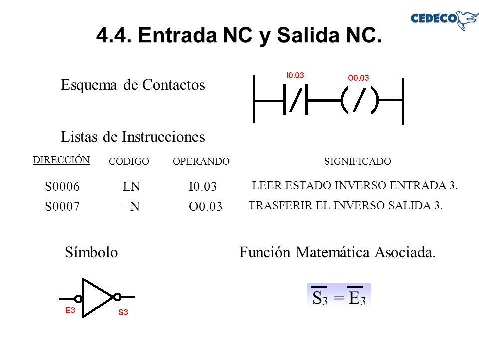 4.4. Entrada NC y Salida NC. S3 = E3 Esquema de Contactos