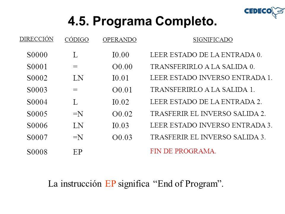 4.5. Programa Completo. La instrucción EP significa End of Program .