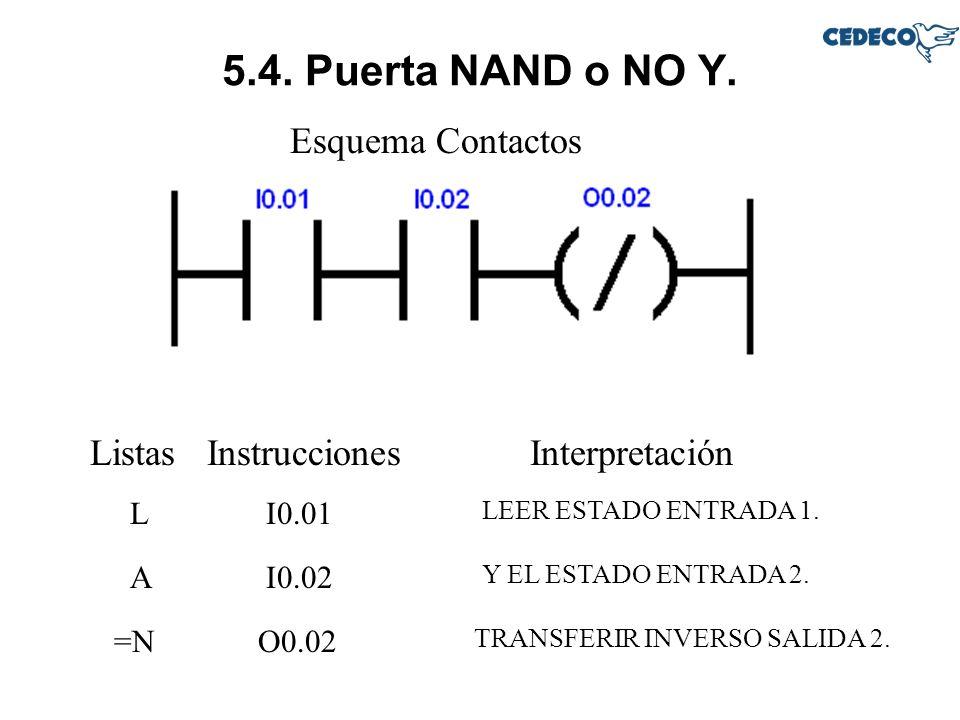 5.4. Puerta NAND o NO Y. Esquema Contactos Listas Instrucciones