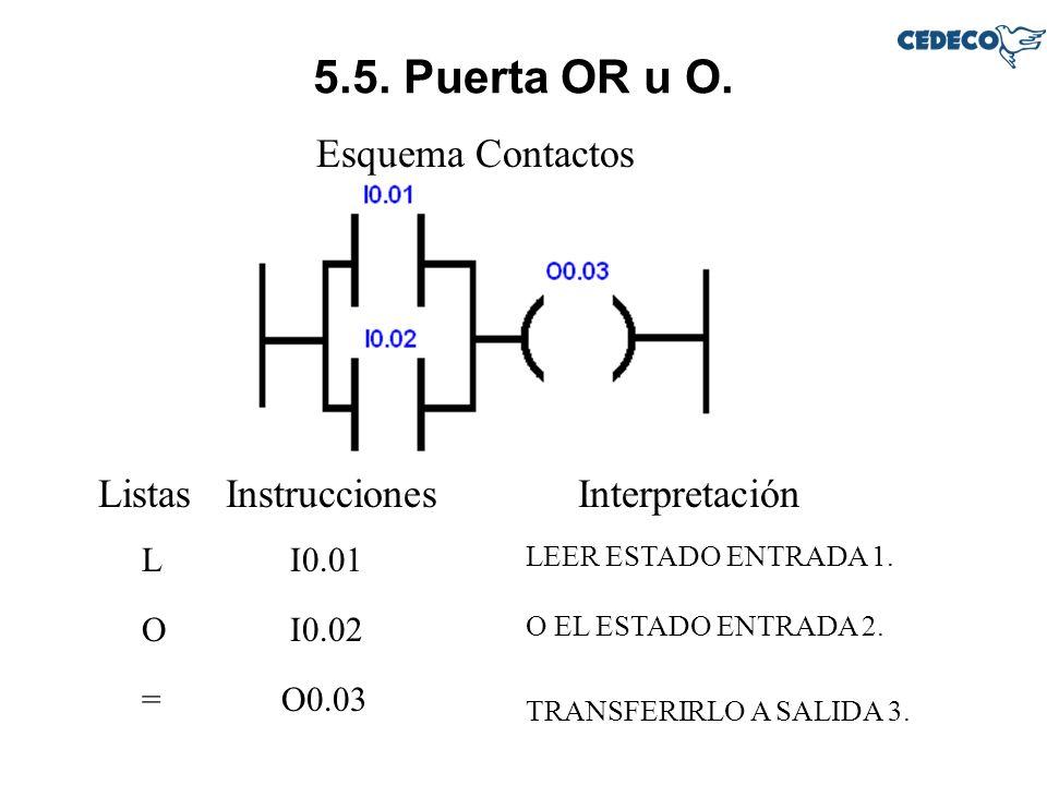 5.5. Puerta OR u O. Esquema Contactos Listas Instrucciones