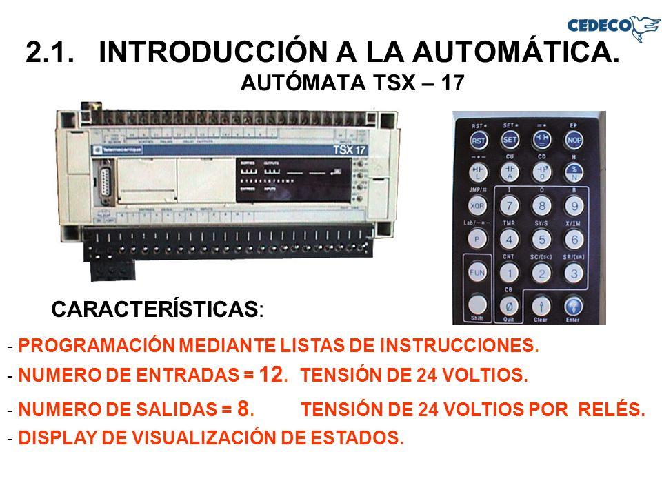 2.1. INTRODUCCIÓN A LA AUTOMÁTICA. AUTÓMATA TSX – 17