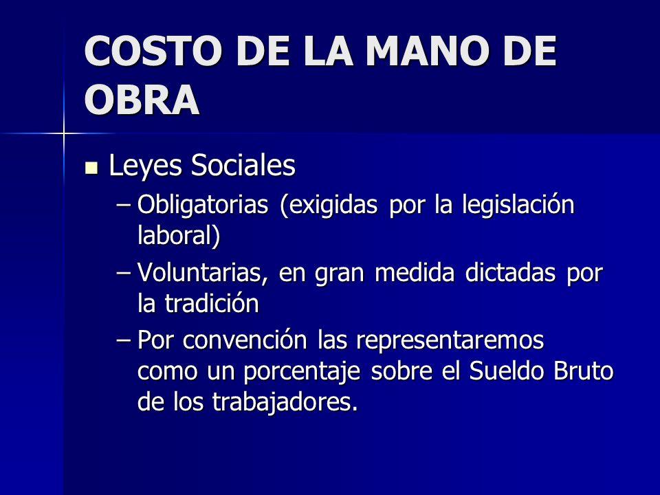 COSTO DE LA MANO DE OBRA Leyes Sociales