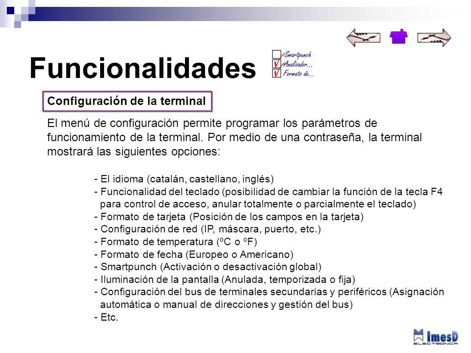Funcionalidades Configuración de la terminal
