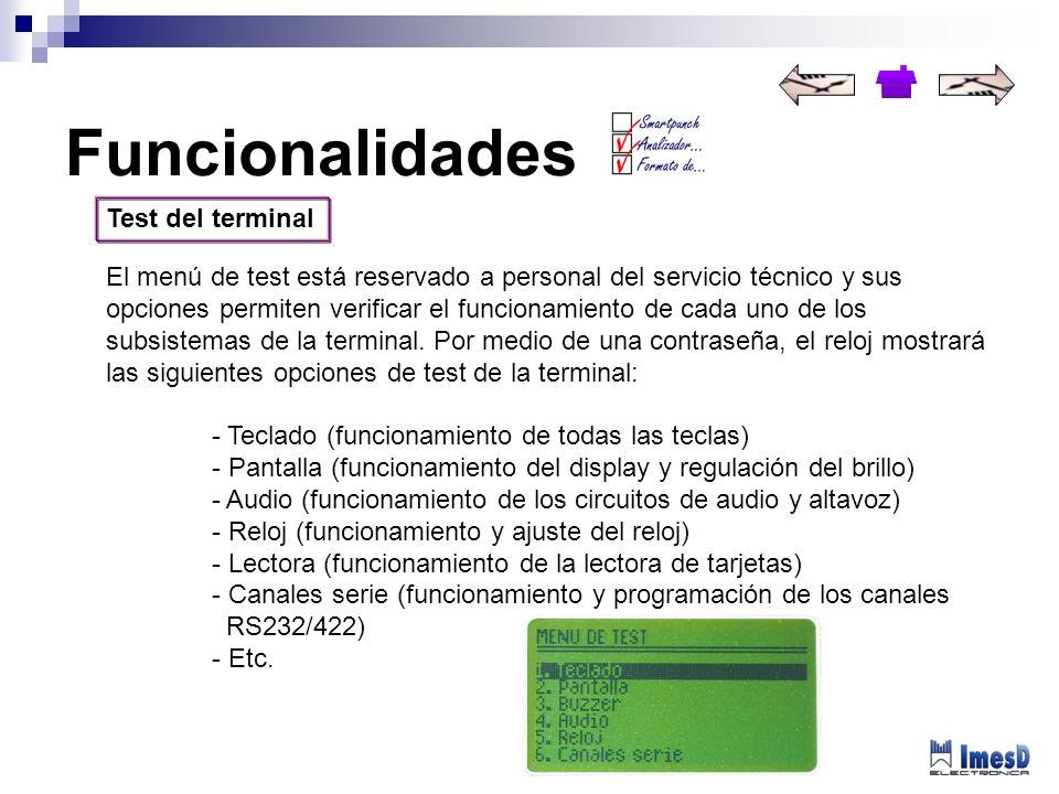 Funcionalidades Test del terminal