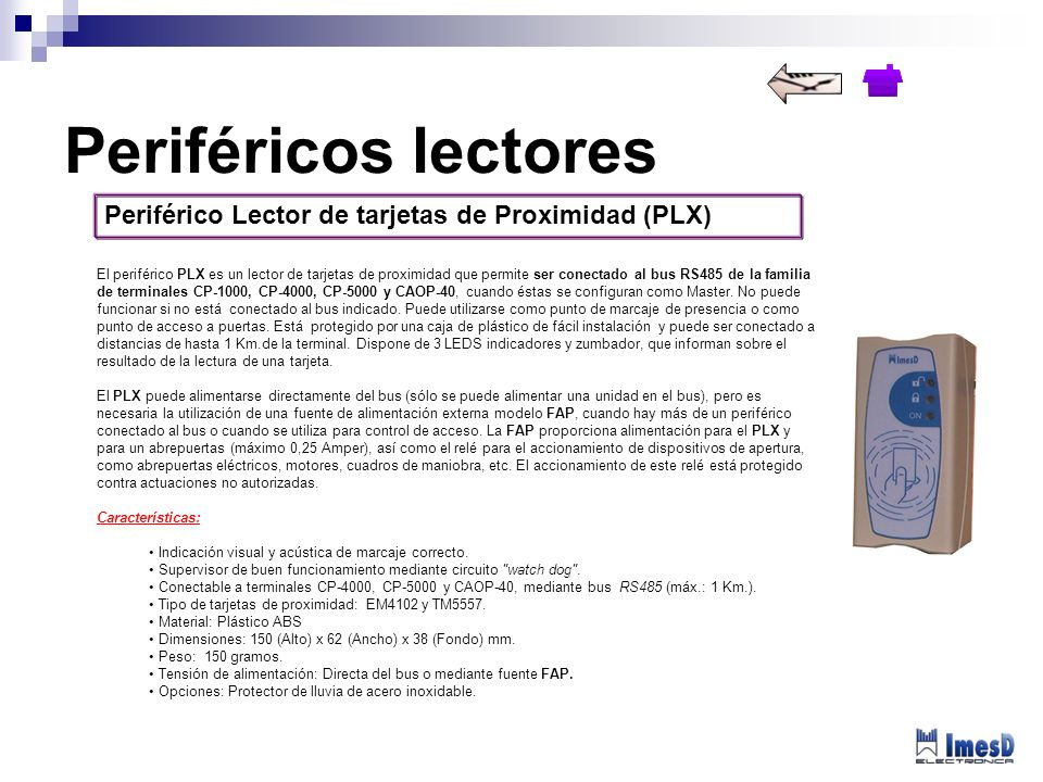 Periféricos lectores Periférico Lector de tarjetas de Proximidad (PLX)