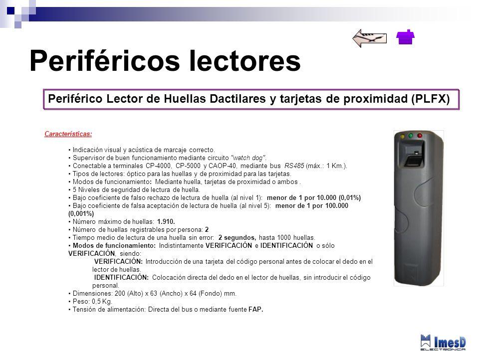 Periféricos lectores Periférico Lector de Huellas Dactilares y tarjetas de proximidad (PLFX) Características: