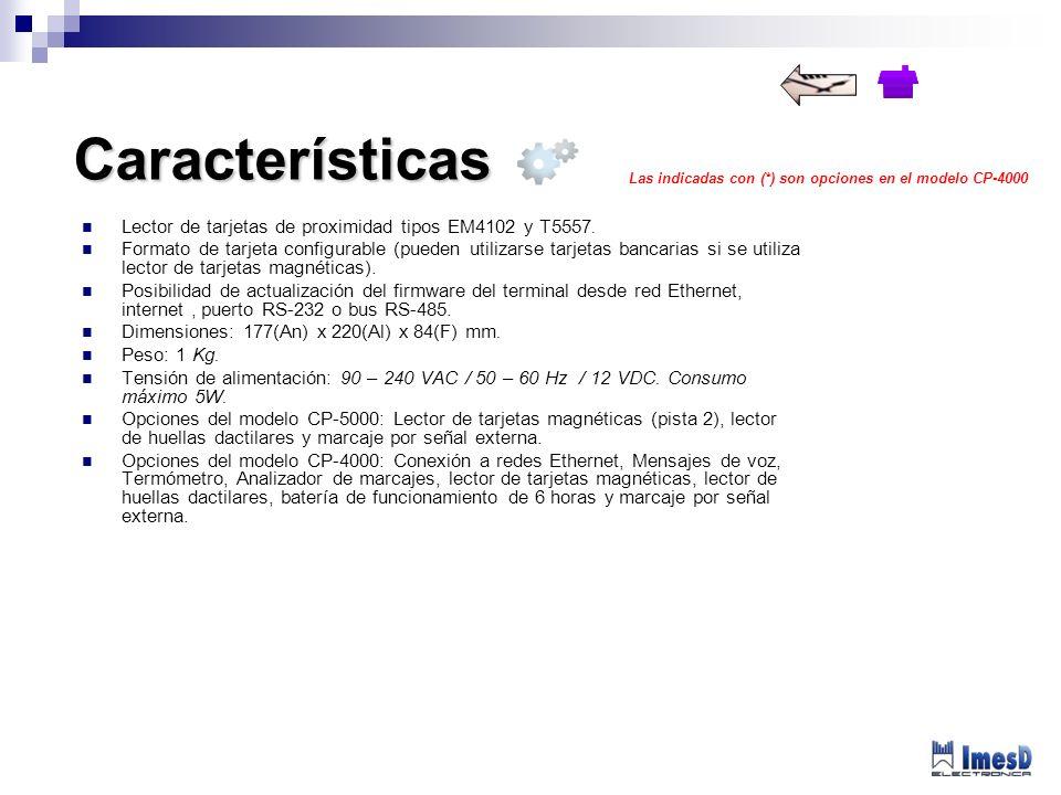 Características Lector de tarjetas de proximidad tipos EM4102 y T5557.