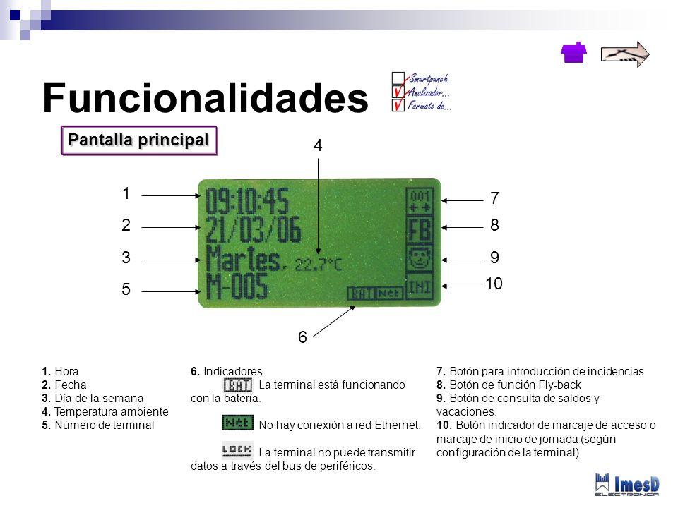 Funcionalidades Pantalla principal 4 1 7 2 8 3 9 10 5 6 1. Hora