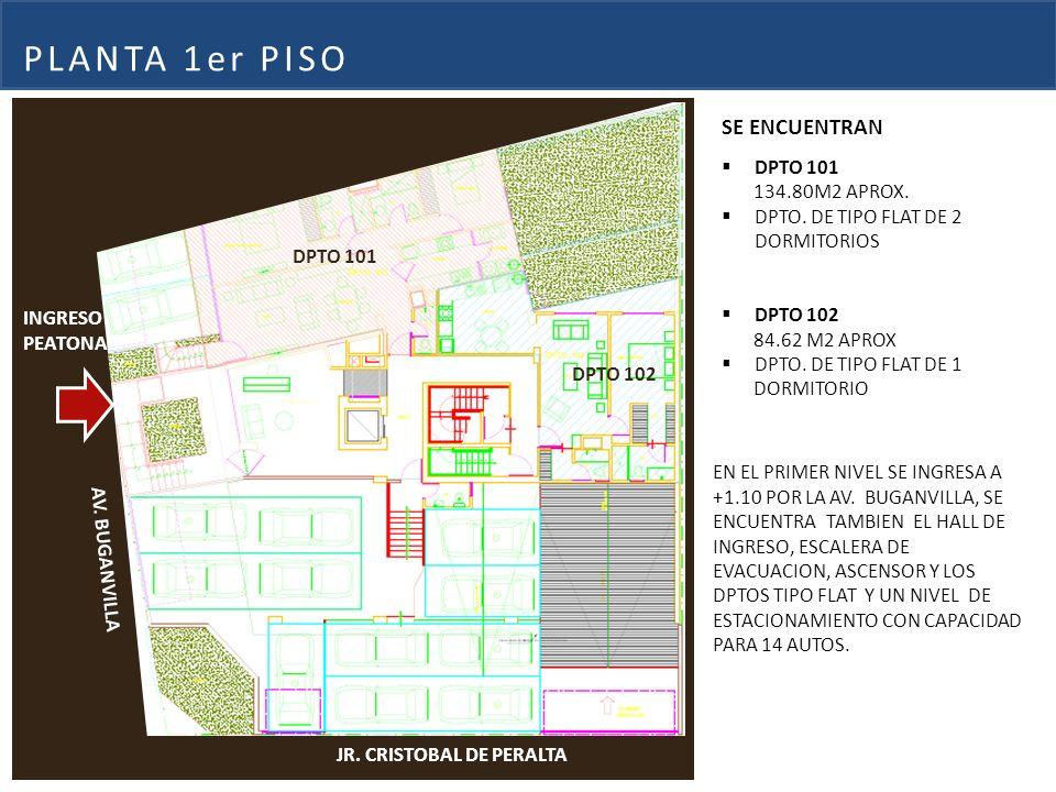 PLANTA 1er PISO SE ENCUENTRAN DPTO 101 134.80M2 APROX.