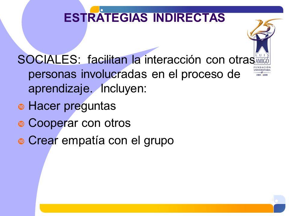 ESTRATEGIAS INDIRECTAS