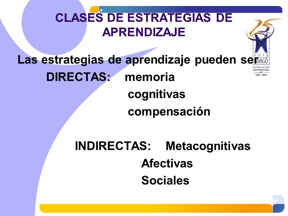 CLASES DE ESTRATEGIAS DE APRENDIZAJE