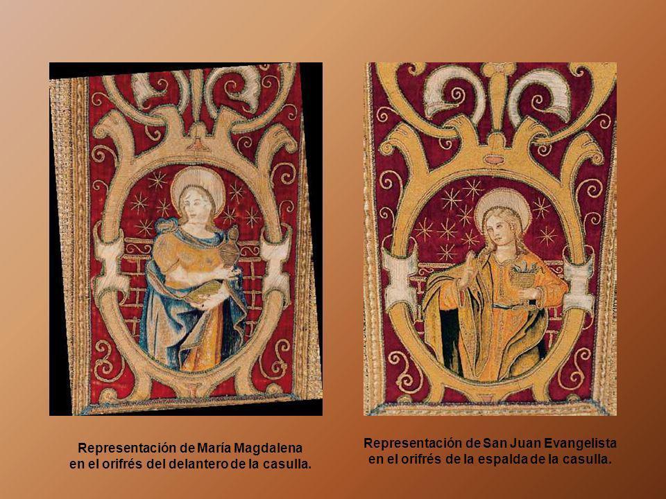 Representación de San Juan Evangelista en el orifrés de la espalda de la casulla.