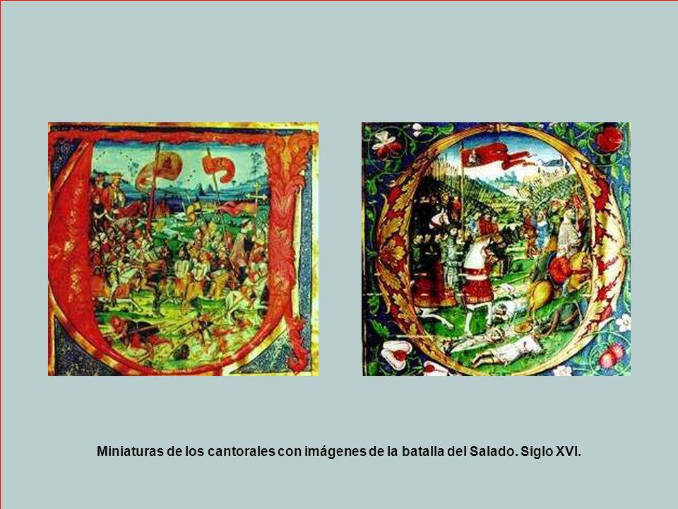 Miniaturas de los cantorales con imágenes de la batalla del Salado