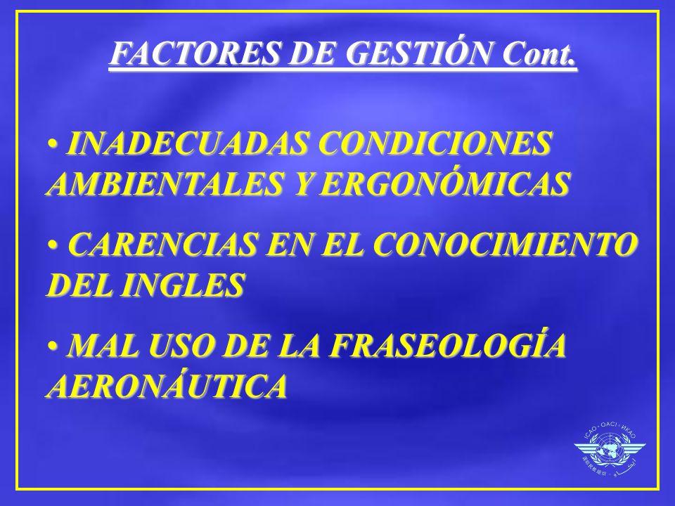 FACTORES DE GESTIÓN Cont.