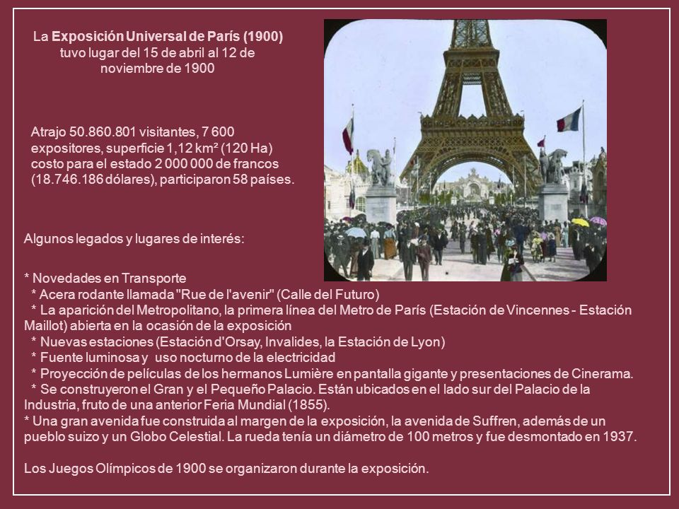 La Exposición Universal de París (1900) tuvo lugar del 15 de abril al 12 de noviembre de 1900