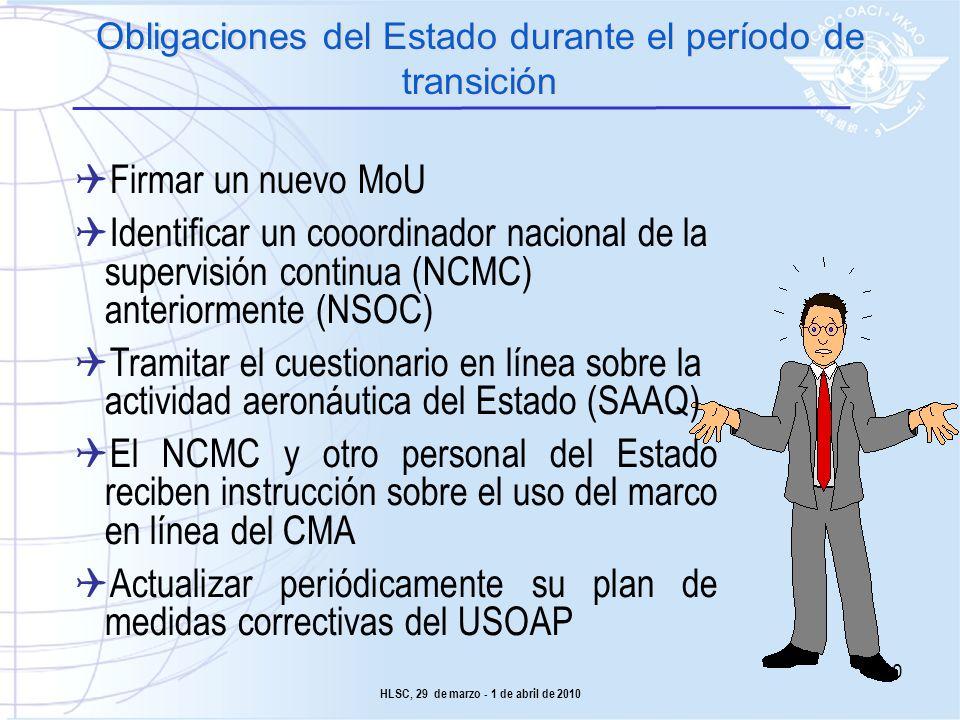 Obligaciones del Estado durante el período de transición