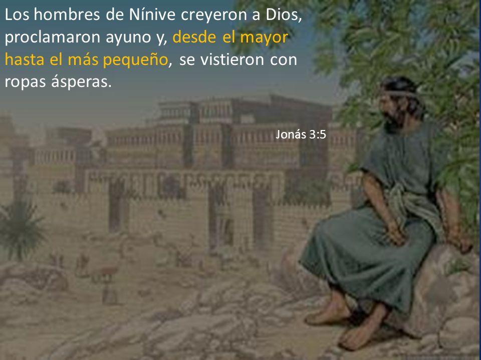 Los hombres de Nínive creyeron a Dios, proclamaron ayuno y, desde el mayor hasta el más pequeño, se vistieron con ropas ásperas.