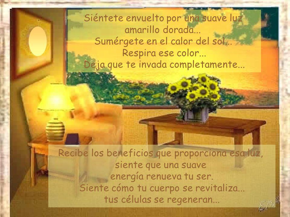 Siéntete envuelto por una suave luz amarillo dorada...