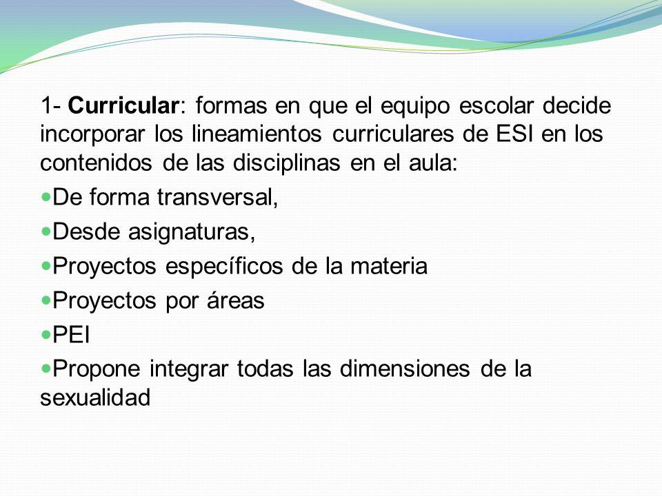 1- Curricular: formas en que el equipo escolar decide incorporar los lineamientos curriculares de ESI en los contenidos de las disciplinas en el aula: