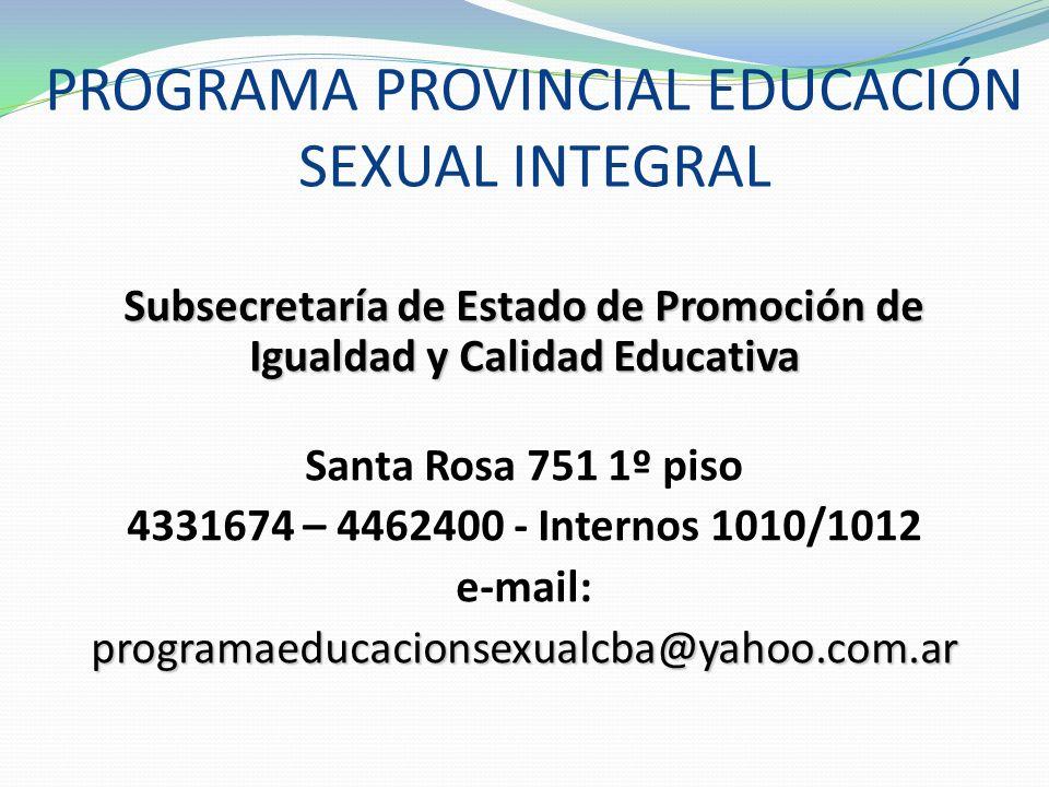 PROGRAMA PROVINCIAL EDUCACIÓN SEXUAL INTEGRAL