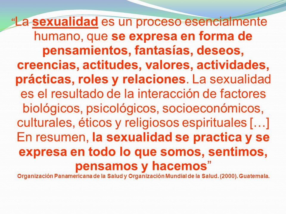 La sexualidad es un proceso esencialmente humano, que se expresa en forma de pensamientos, fantasías, deseos, creencias, actitudes, valores, actividades, prácticas, roles y relaciones.