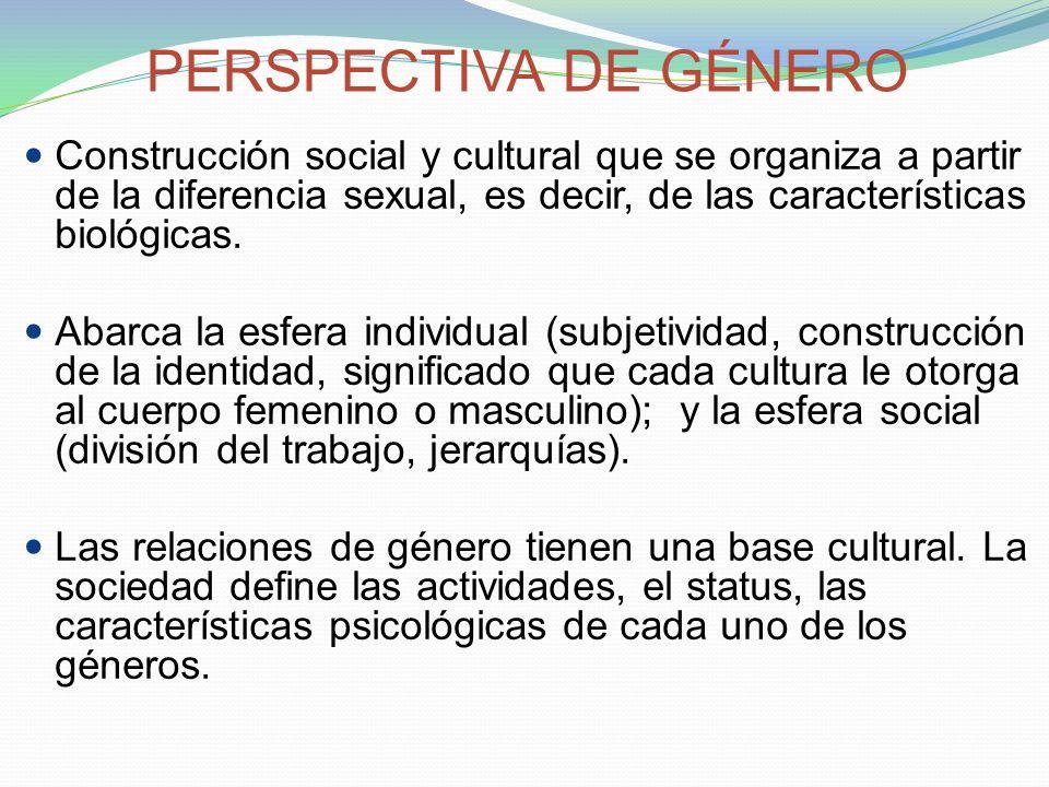 PERSPECTIVA DE GÉNERO Construcción social y cultural que se organiza a partir de la diferencia sexual, es decir, de las características biológicas.