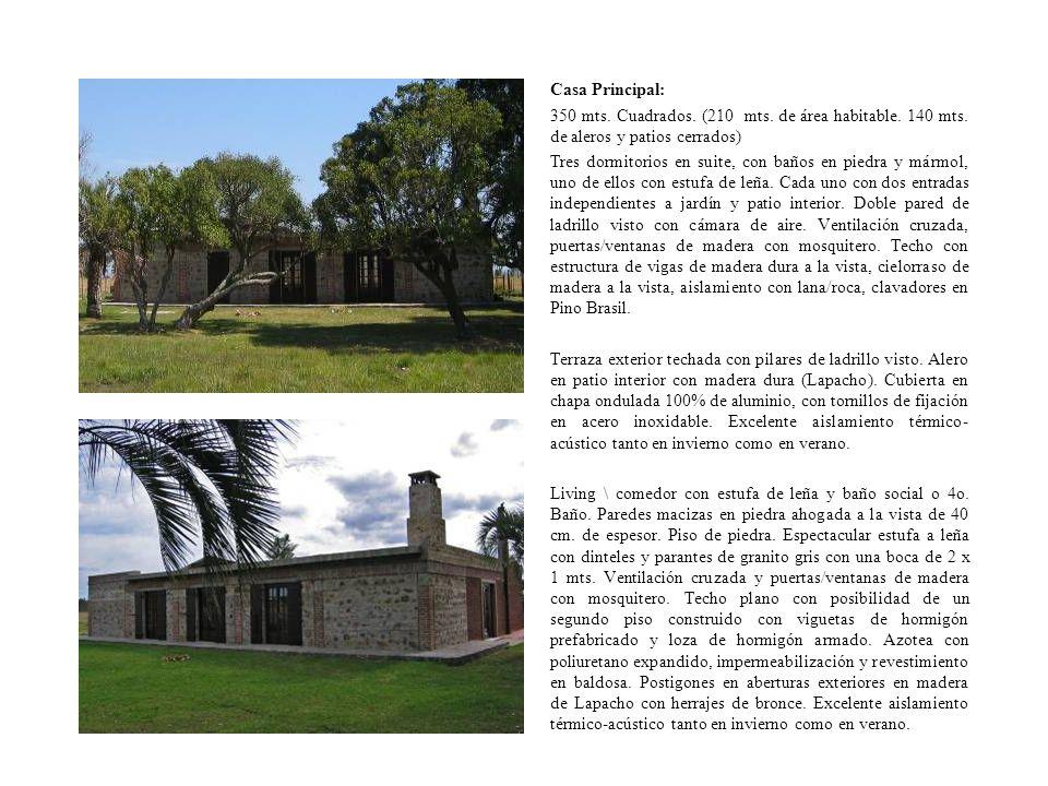 Casa Principal: 350 mts. Cuadrados. (210 mts. de área habitable. 140 mts. de aleros y patios cerrados)