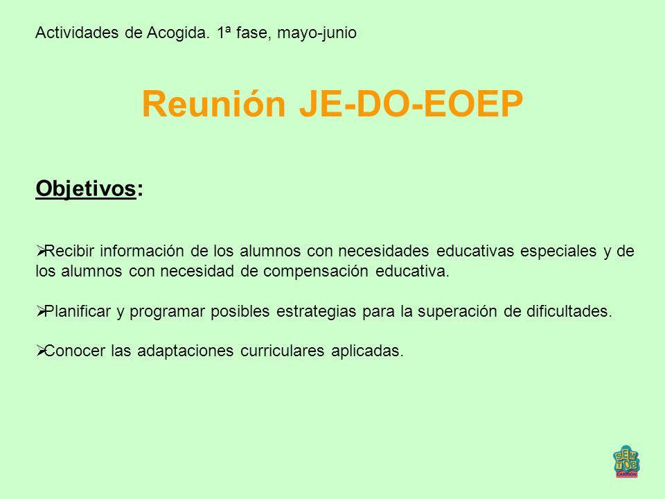 Reunión JE-DO-EOEP Objetivos: