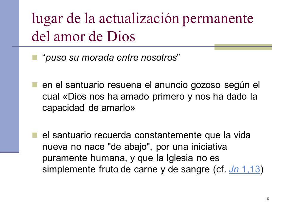 lugar de la actualización permanente del amor de Dios