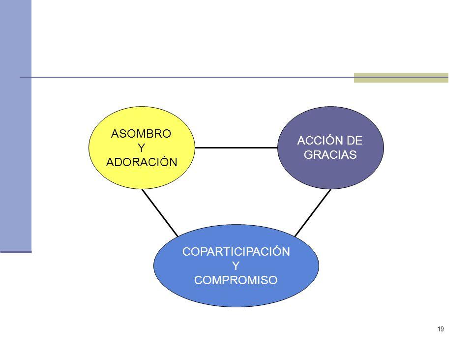 ASOMBRO Y ADORACIÓN ACCIÓN DE GRACIAS COPARTICIPACIÓN Y COMPROMISO