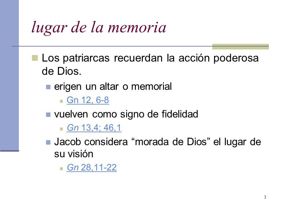 lugar de la memoria Los patriarcas recuerdan la acción poderosa de Dios. erigen un altar o memorial.