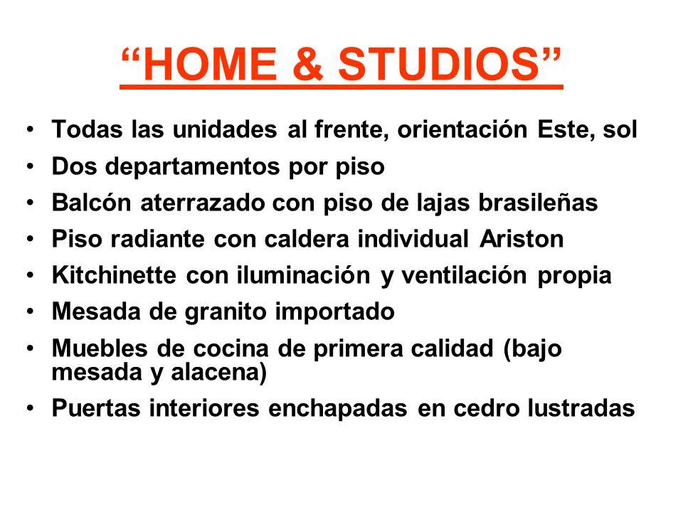 HOME & STUDIOS Todas las unidades al frente, orientación Este, sol