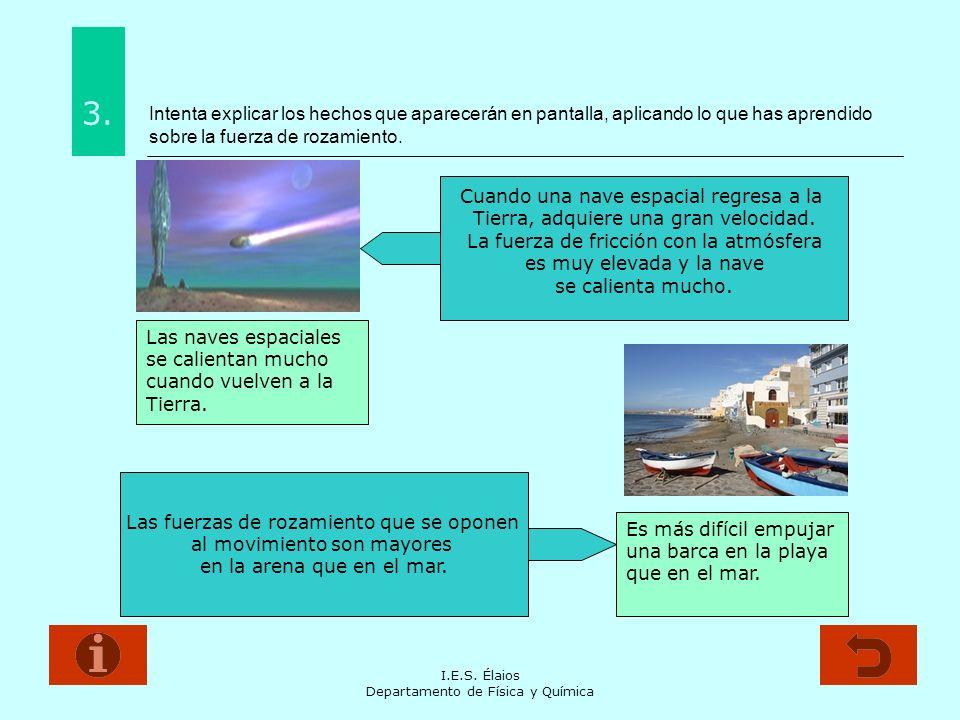 Intenta explicar los hechos que aparecerán en pantalla, aplicando lo que has aprendido sobre la fuerza de rozamiento.