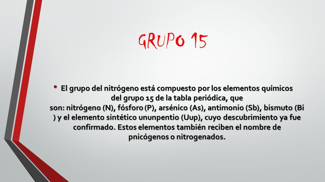 Tabla periodica la tabla peridica de los elementos es una 18 grupo 15 el grupo del nitrgeno est compuesto por los elementos qumicos del grupo 15 de la tabla peridica urtaz Gallery