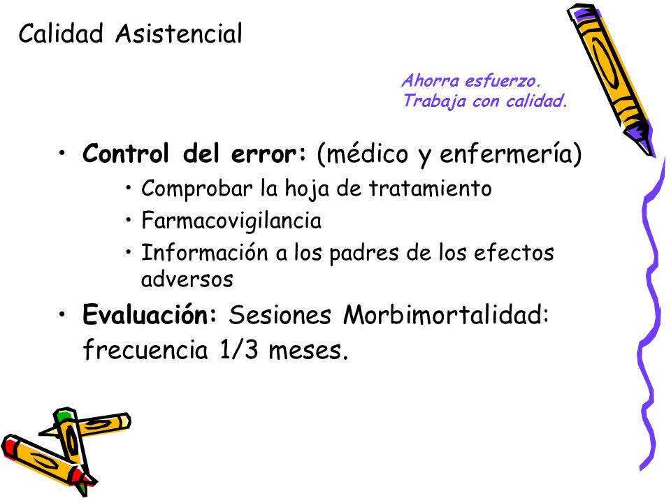Control del error: (médico y enfermería)
