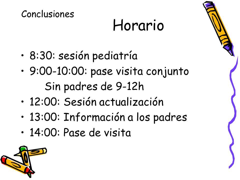 Horario 8:30: sesión pediatría 9:00-10:00: pase visita conjunto