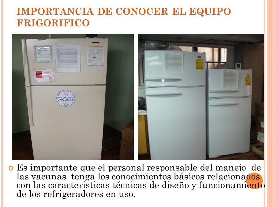IMPORTANCIA DE CONOCER EL EQUIPO FRIGORIFICO