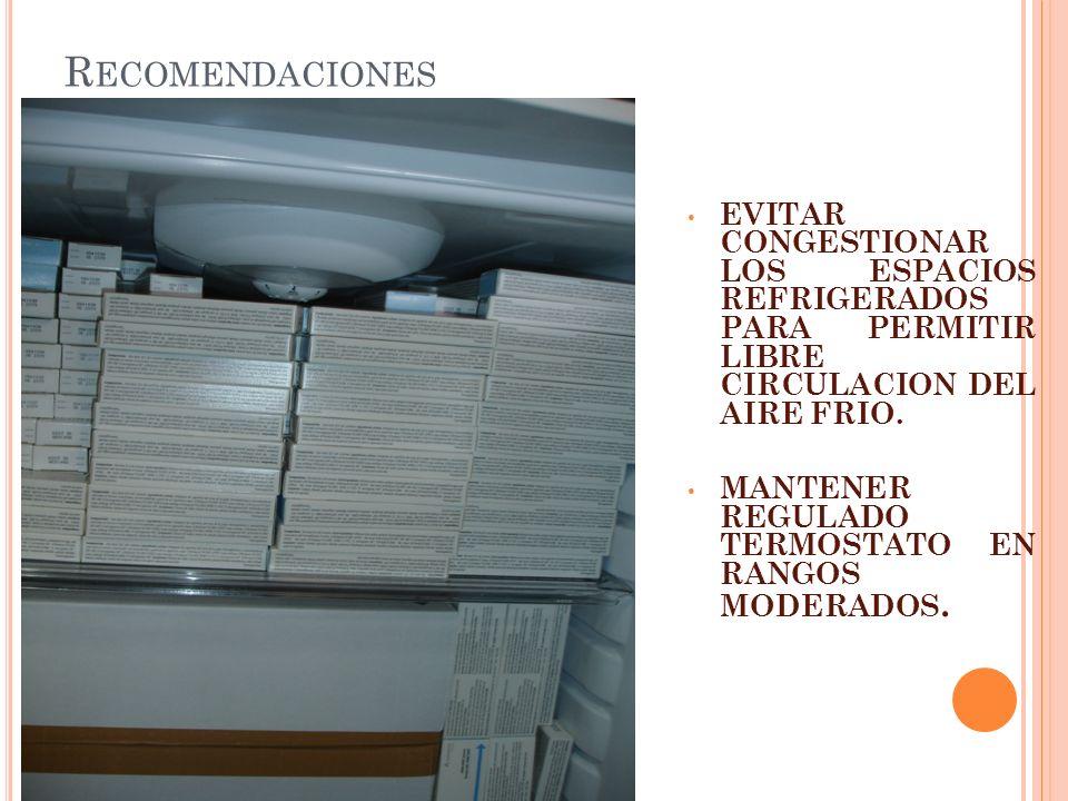 Recomendaciones EVITAR CONGESTIONAR LOS ESPACIOS REFRIGERADOS PARA PERMITIR LIBRE CIRCULACION DEL AIRE FRIO.