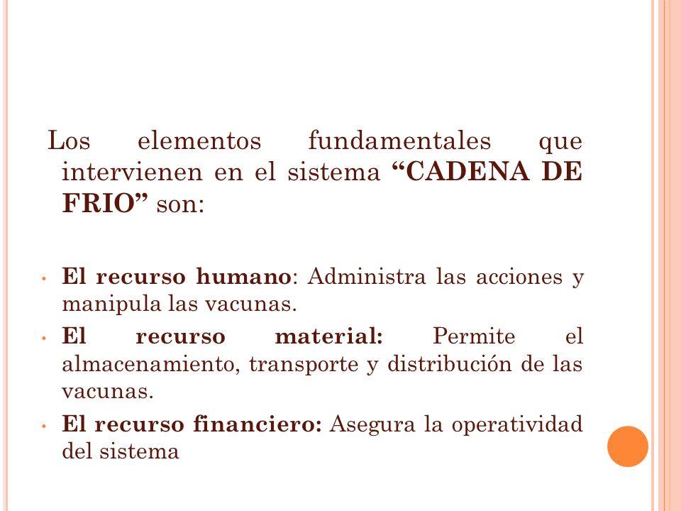 Los elementos fundamentales que intervienen en el sistema CADENA DE FRIO son: