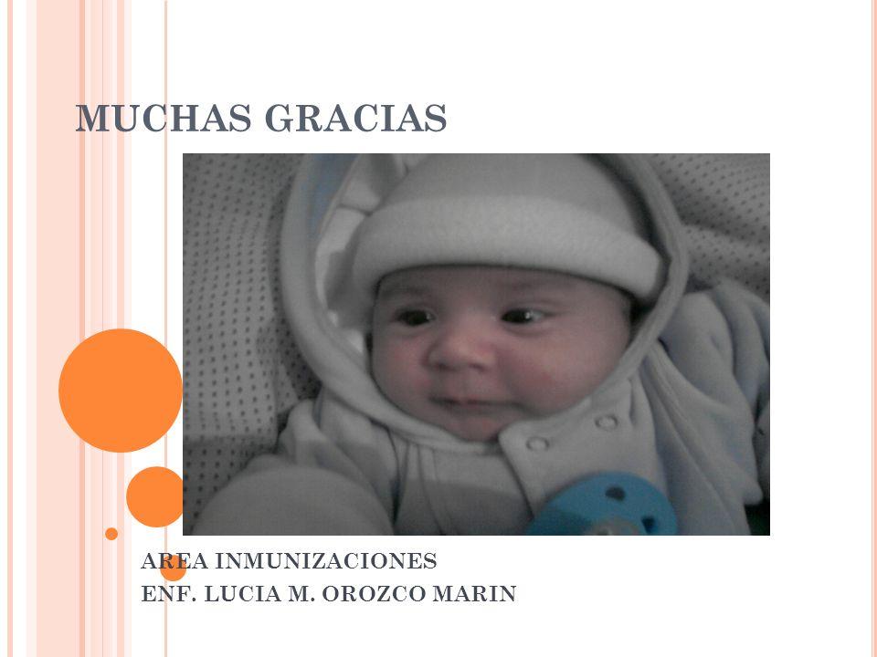AREA INMUNIZACIONES ENF. LUCIA M. OROZCO MARIN