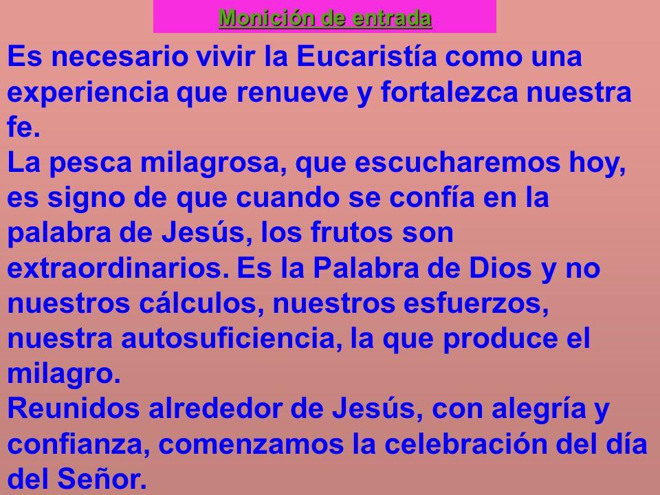 Monición de entrada Es necesario vivir la Eucaristía como una experiencia que renueve y fortalezca nuestra fe.