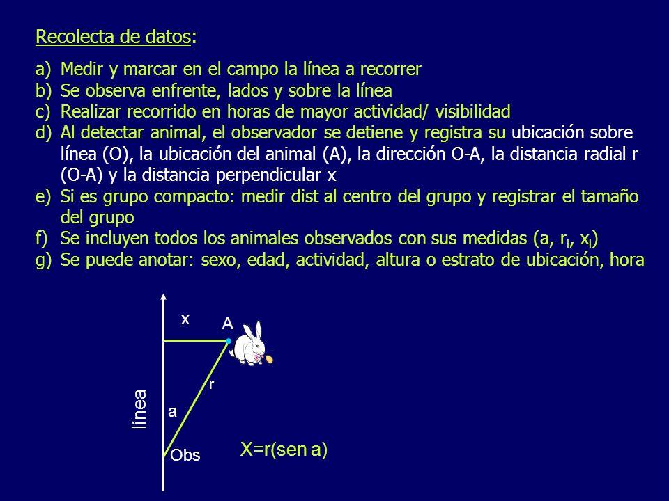 Recolecta de datos: línea X=r(sen a)