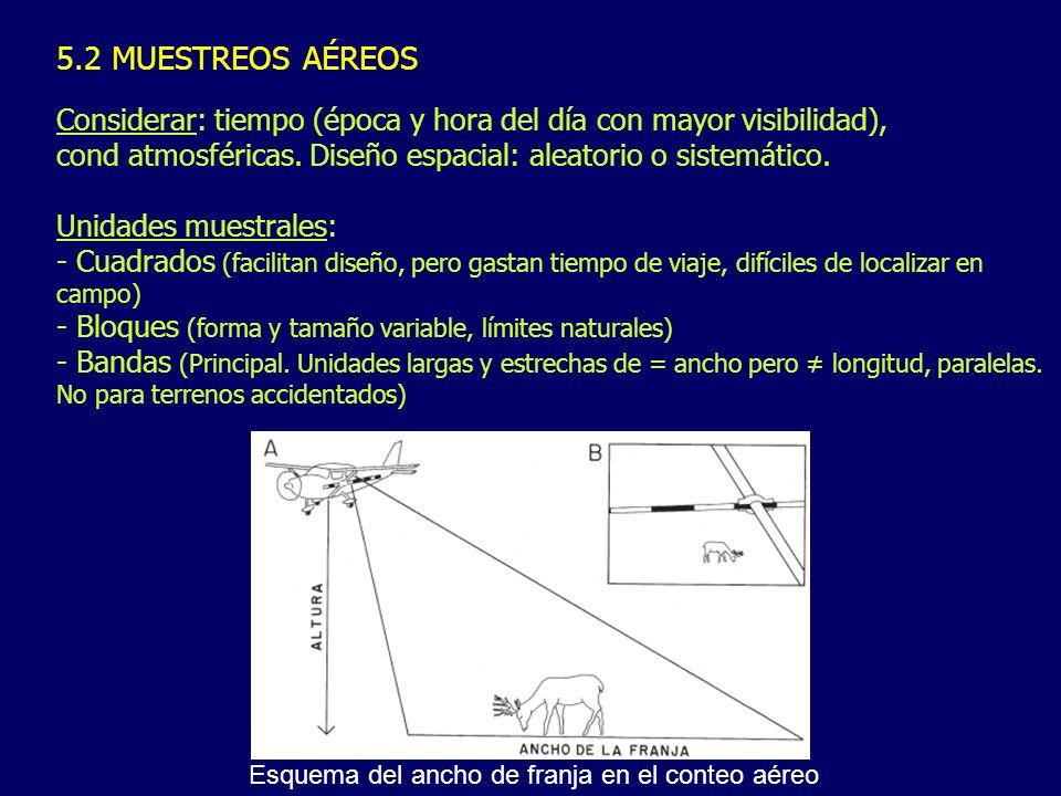 5.2 MUESTREOS AÉREOS Considerar: tiempo (época y hora del día con mayor visibilidad), cond atmosféricas. Diseño espacial: aleatorio o sistemático.