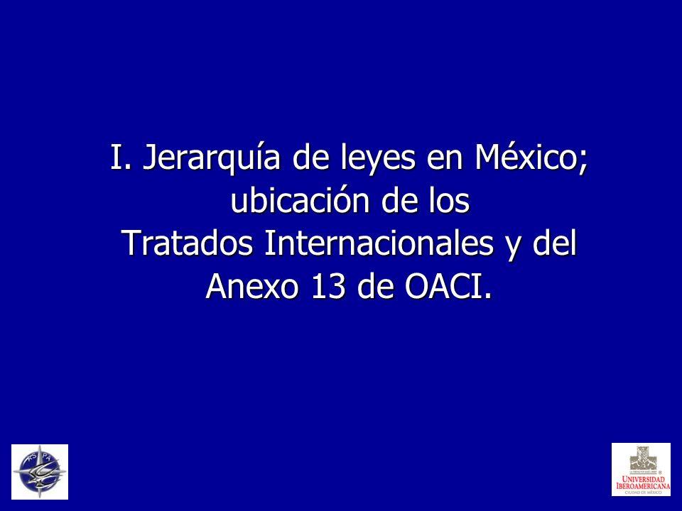 I. Jerarquía de leyes en México; ubicación de los Tratados Internacionales y del Anexo 13 de OACI.