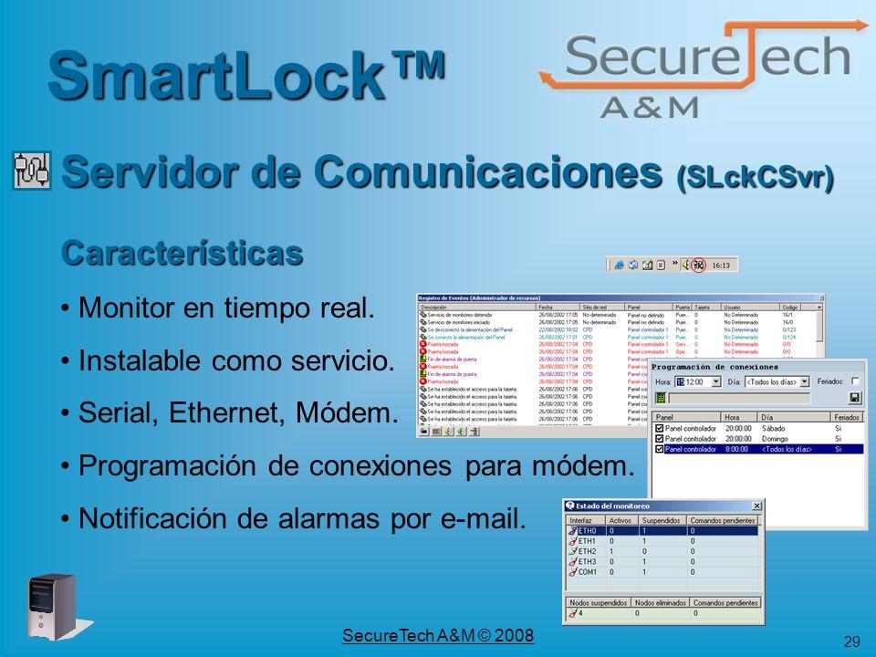 SmartLock™ Servidor de Comunicaciones (SLckCSvr) Características